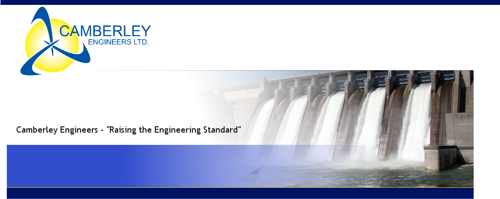 Camberley Engineers Logo and Hydro Electric Dam